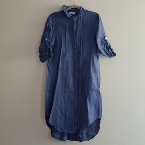 Blue 100% Linen Made in Italy Button down Dress